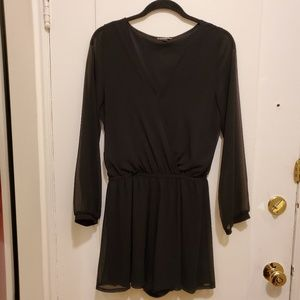 Express romper w sheer sleeves, surplice neckline